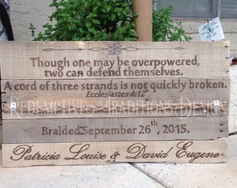 """Personalized """"Cord of Three Strands"""" wood burned sign"""