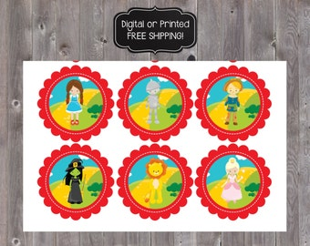 Wizard of Oz Cupcake Toppers, Wizard of Oz Favor Tags, Wizard of Oz Labels, Wizard of Oz Stickers, Wizard of Oz Birthday Party