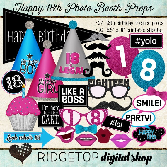 Photo Booth Props HAPPY 18TH BIRTHDAY Printable Sheets