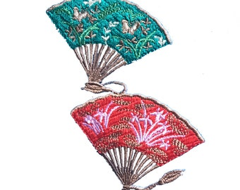 Vintage Oriental Folding Fan Patch