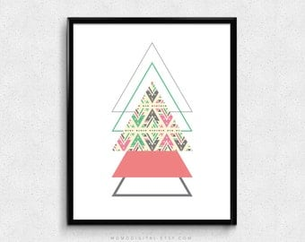SALE -  Tribal Pattern Triangles, Triangles Pattern, Modernism, Shabby Chic Art Poster, Shape Decoration, Teal Coral, Native Aztec, Outline