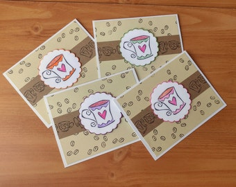 Simple Blank Notecards - Coffee Lover Notecards - Blank Greeting Cards - All Purpose Notecards - Coffee Birthday Cards