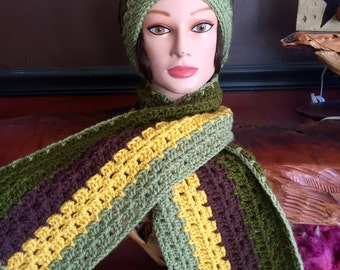 Hand Crocheted Hat & Scarf Set