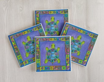 Turtle Coasters Turtle Tile Coasters Gift for Turtle Lover Gift Turtle Print Colorful Turtle Art Colorful Turtle Print Turtle Decor - 4