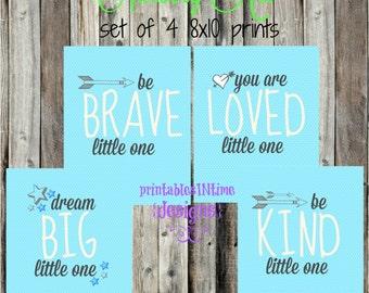 Boy Nursery Art- Little One- Nursery Print- You are loved, be brave, be kind, dream big