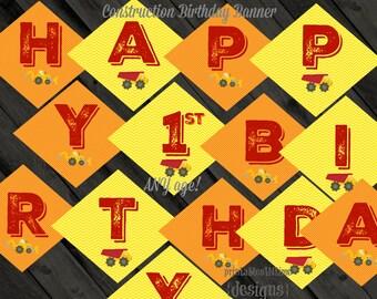 Construction Birthday Banner- Boy Birthday- instant download