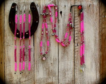 """Equine Rhythm Bead Set With Four Mane Beads... """" Pretty in Pink"""" with butterfly pendant"""