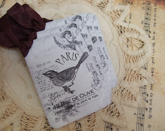 Vintage French Paris Bird Hang / Gift Tags
