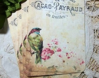 Set of FOUR Vintage Beautiful French Bird Hang Tags / Gift Tags