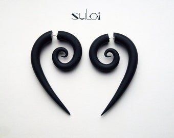 spiral black fake gauge earrings