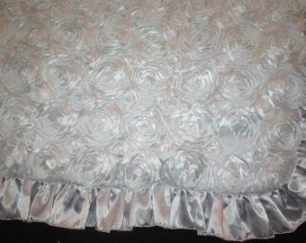 Rose Baby Blanket, white