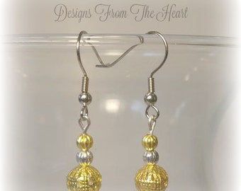 Two tone silver and gold dangle drop earrings