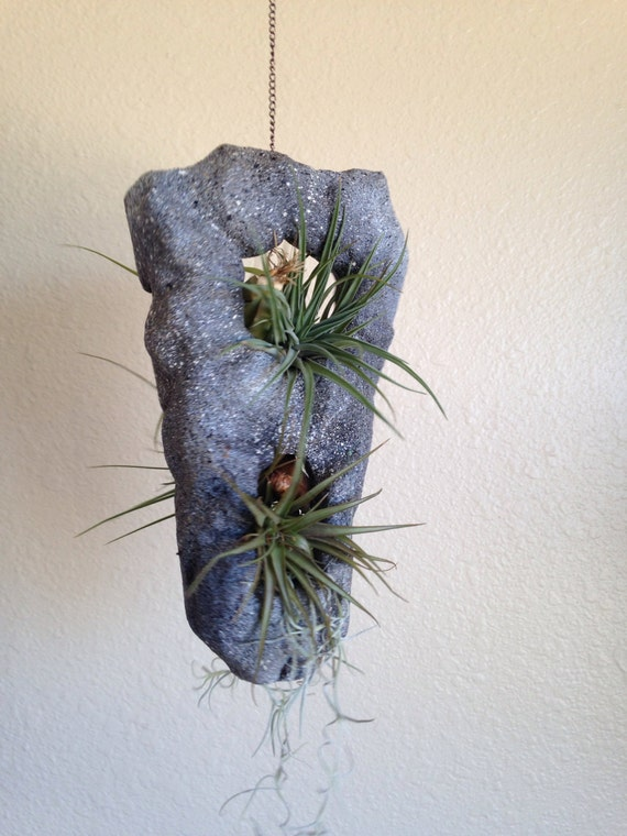 Hanging Air Planter Gray Faux Rock