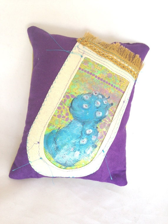 Hand Painted Creature Purple Pillow