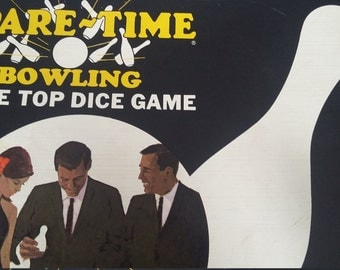 Vintage 1965 Version Spare-Time Bowling Game Vintage 60s Table Top Dice Game