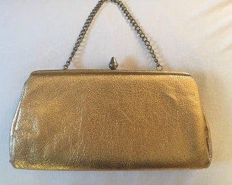 1960's-70's gold lame clutch purse with chain