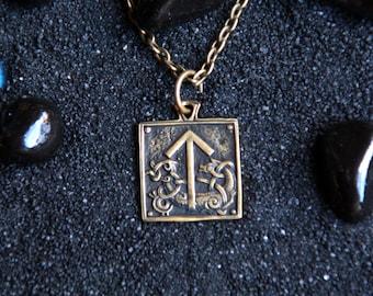 Rune Tiwaz Teiwaz Tyr Elder Futhark Viking Pendant Runes Necklace Gift for Warrior : Bronze Handmade Pendant with chain