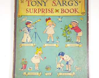 Stunning and Vibrant Vintage Children's Book from 1940's. Tony Sarg's Surprise Book. Great Illustrations. Colorful Collectible Books.