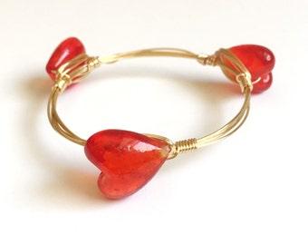 Red Heart Wire Wrap Bangle, Bracelet