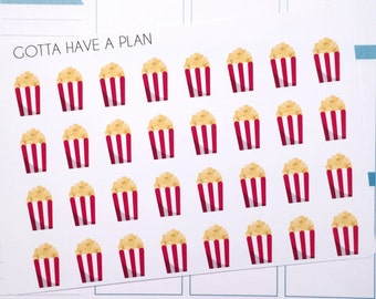 Planner Stickers Popcorn Movie Night for Erin Condren, Happy Planner, Filofax, Scrapbooking