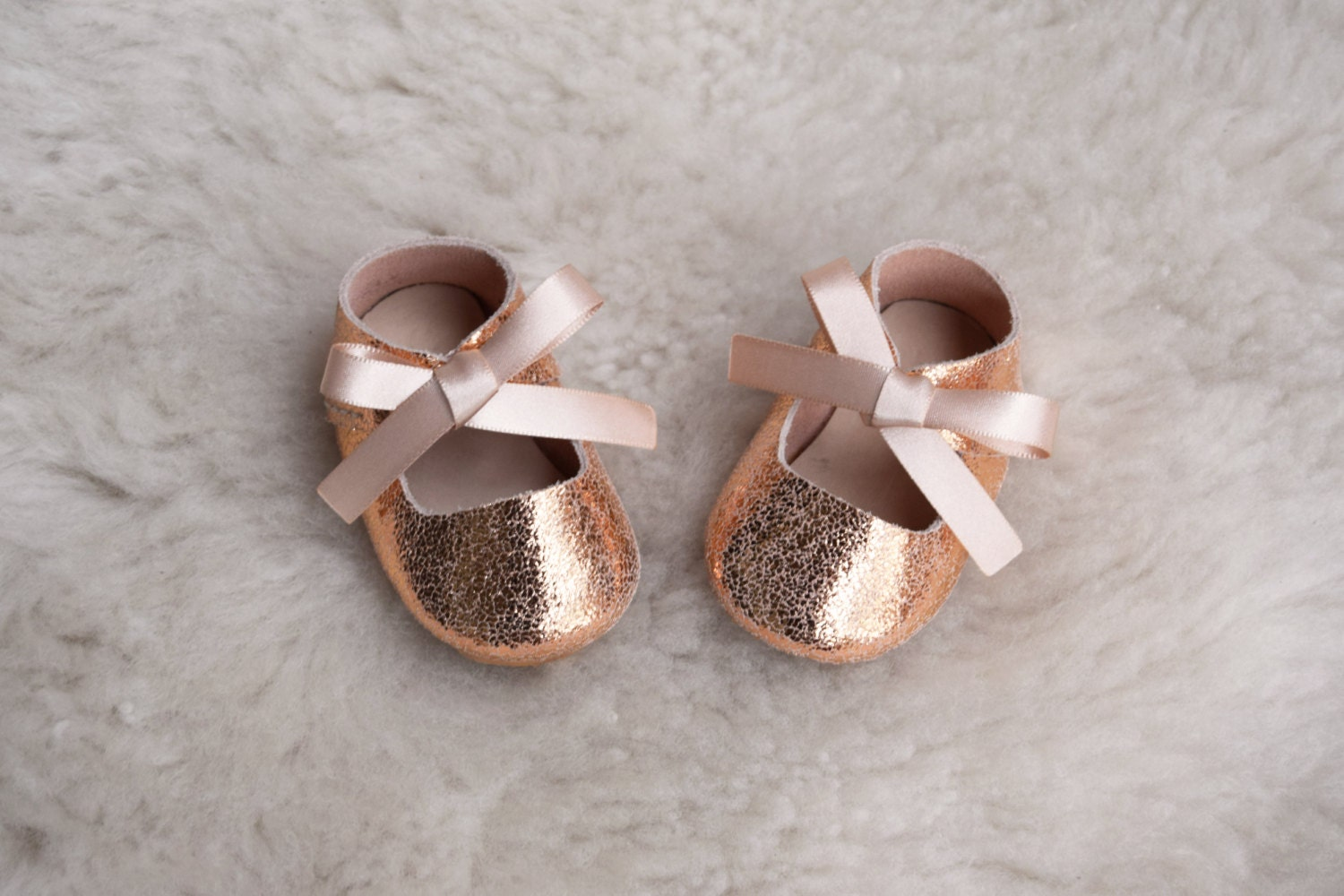 Baby Moccasins Leather Baby Girl Shoes Rose Gold Pink