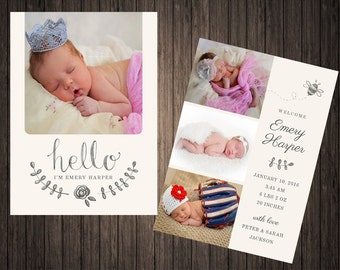 Hello! Photo Birth Announcement double sided PRINTABLE 5X7 Digital Download, Welcome To The World, Personalized, Hello World,Im New Here