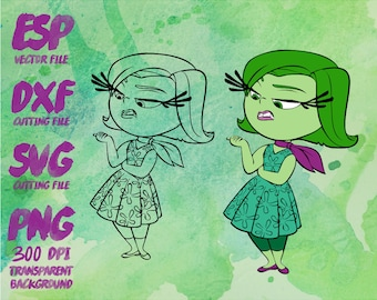 Inside Out Disgust Clipart , SVG Cutting , ESP Vectors files , T shirt , iron on , sticker ,Personal Use
