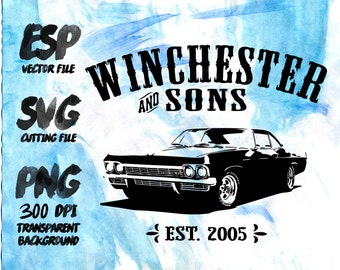 Impala Winchester and sons Clipart , SVG Cutting , ESP Vectors files , T shirt , iron on , sticker ,Personal Use