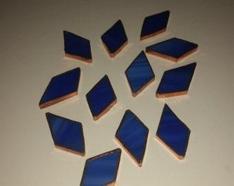 12 Piece Dark Blue Copper Foil Diamonds / Stained Glass / Mosaics / Glass Art / sun Catcher