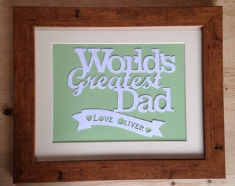 Worlds Greatest Dad personalised papercut