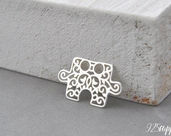 925 Sterling Silver puzzle, puzzle pendant, puzzle piece charms, puzzle, puzzlesilver, rosette, rosette silver, rosette pendant, rosette