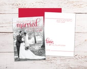 Very Married Christmas | Newlywed Christmas Card | Holiday Greetings | Mr and Mrs | Envelope and Envelope Liners | Black White Red Photo