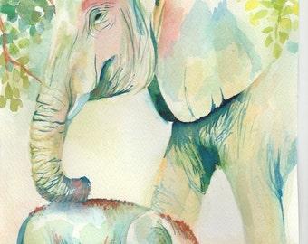 elephant watercolor, an original watercolor painting, elephant, an original watercolor painting, animal, animal, baby, watercolour, watercolor