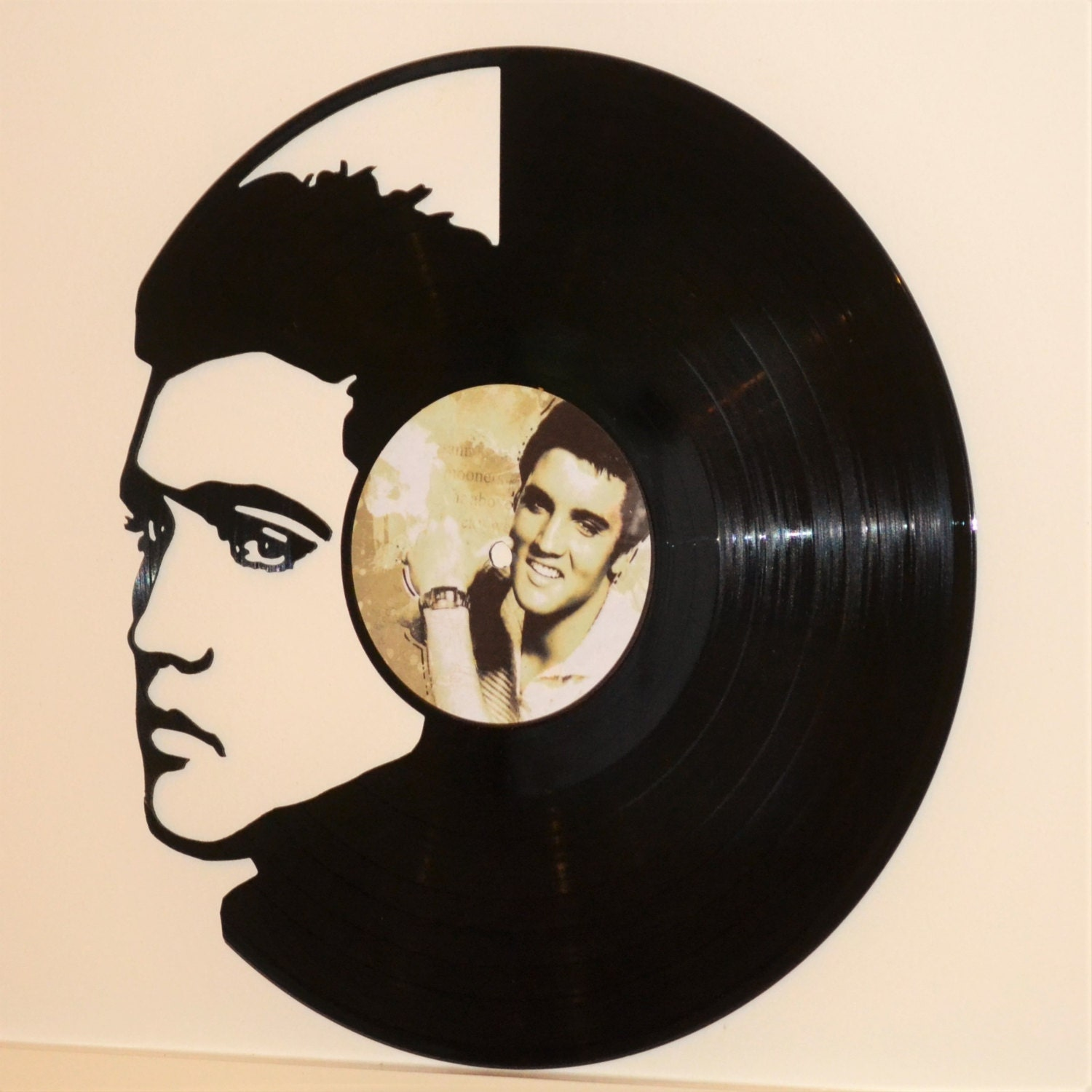 Elvis vinyl record wall art by emmylouwhostore on etsy for Vinyl record wall art