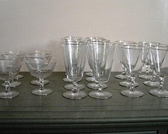 Victorian 20 Piece Etched Glass Stemware Set