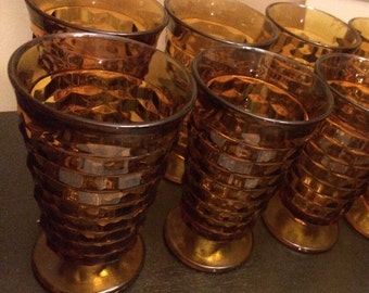 Set of 4 Amber Indiana Glass Whitehall Pattern 14 oz