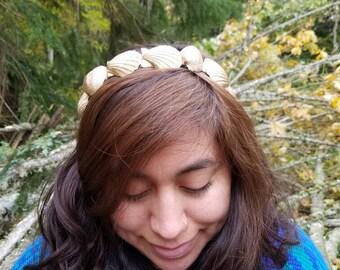 Gold Seashell Headband / Recycled Nature Crown / Mermaid Hair Accessory / Repurposed Materials