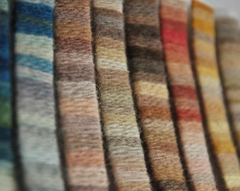 Naturally dyed wool yarn. Examples of colours.Handmade,eco /plant dyeing,brown,yellow,green,grey,blue,red,pink,indigo. Reenactment, viking