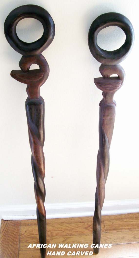 Authentic African Vintage Walking Canes Senufu Bird