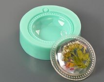 Silicone mold 40 x 8 mm round faceted cabochon with frame - For making pendants, jewelry - For epoxy resin and polymer clay