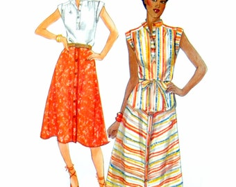 70s Butterick 5324 Semi-Fitted Top with Cap Sleeves, Shaped Hem and Flared, Buttoned Skirt, Uncut, Factory Folded Sewing Pattern Size 12