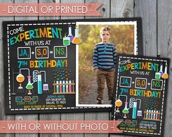Science Invitation, Science Birthday Invitation, Science Invite, Science Party, Experiment Invitation, Chalkboard, Digital File, Prints #325