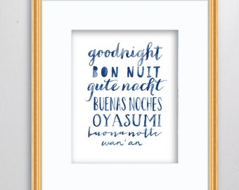 Goodnight Watercolor Print - SMc. Originals, watercolor painting, nursery decor, nursery art, language art, type art print, typography, art
