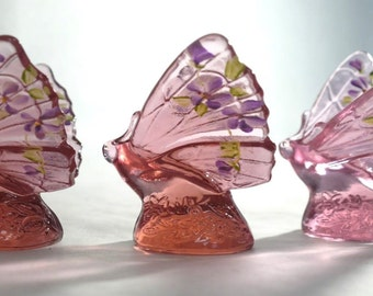 Set of 3 Fenton Glass Hand Painted P. Lauderman Pink Butterflies