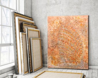 Abstract Art contemporary art Original Oil Painting on Canvas Peach Orange Art Modern textured