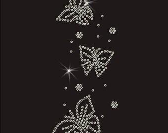 Cluster of Butterflies Rhinestone Iron On Transfer
