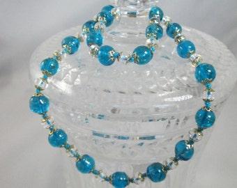 Vintage Blue Glass Bead Necklace 1950s 1960s