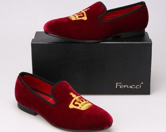 Handmade FERUCCI Burgundy Men Velvet Slippers loafers with Crown davucci