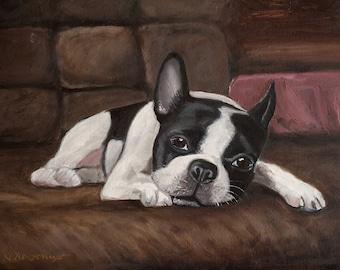 BOSTON TERRIER dog, Pet Portrait, Boston Terrier Oil Painting 12x16
