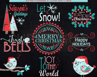 CHRISTMAS CLIPART Commercial Use Clipart Christmas Chalkboard Word Art Trees Bird & Quotes Holiday Digital clip art Instant Download Jpg/Png